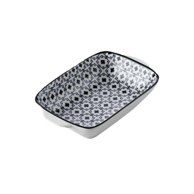 Table Matters Crisscross Blue Baking Dish with Handles - 0