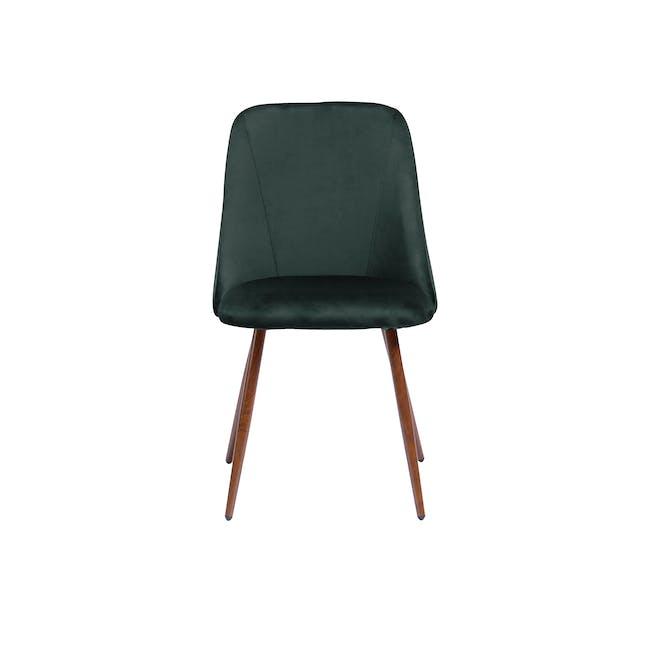 Lana Dining Chair - Walnut, Pine Green (Velvet) - 3