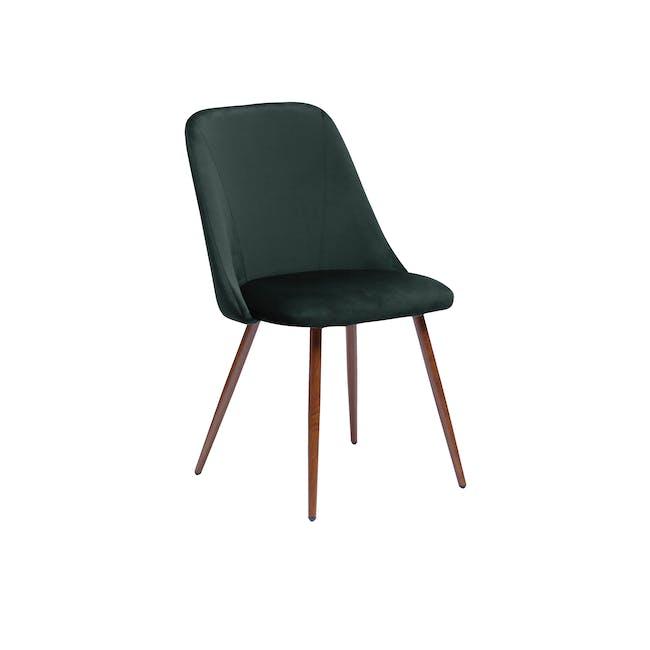 Lana Dining Chair - Walnut, Pine Green (Velvet) - 0