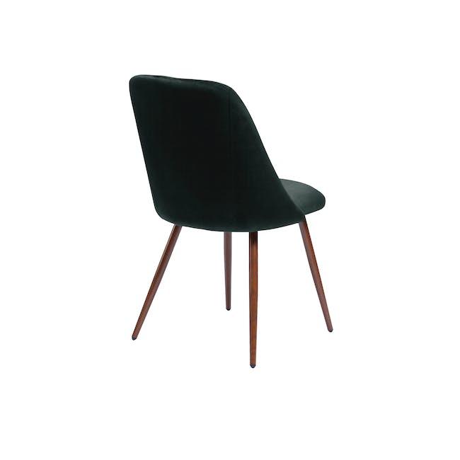 Lana Dining Chair - Walnut, Pine Green (Velvet) - 2