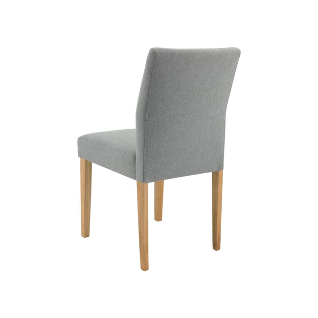 Haynes Table 2.2m in Oak with 4 Ladee Dining Chairs in Natural, Pale Grey - 17