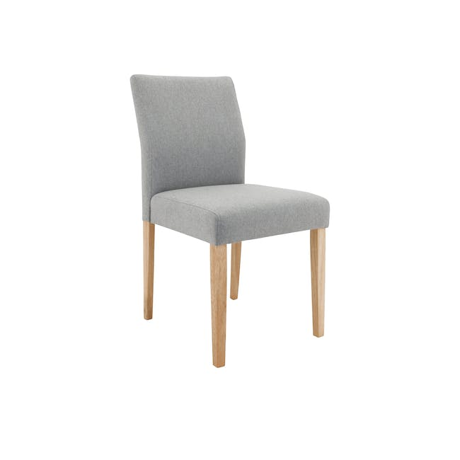 Haynes Table 2.2m in Oak with 4 Ladee Dining Chairs in Natural, Pale Grey - 12