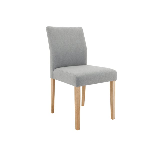 Haynes Table 2.2m in Oak with 4 Ladee Dining Chairs in Natural, Pale Grey - 13
