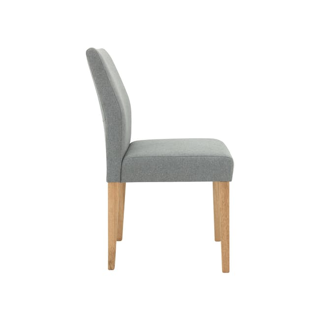 Haynes Table 2.2m in Oak with 4 Ladee Dining Chairs in Natural, Pale Grey - 14