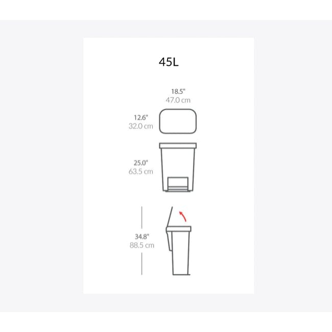 simplehuman Plastic Rectangular Step Can 45L - Black - 9