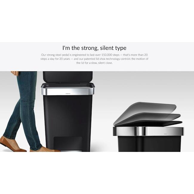 simplehuman Plastic Rectangular Step Can 45L - Black - 8