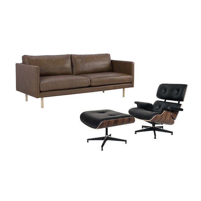 Rexton 3 Seater Sofa in Brown with Eames Lounge Chair and Ottoman - 0