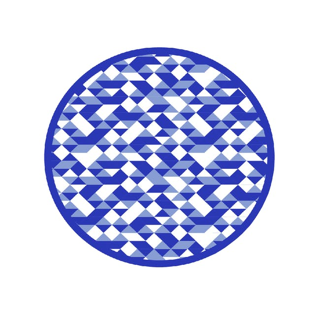 Diamond Round Reversible Mat - Blue - 0