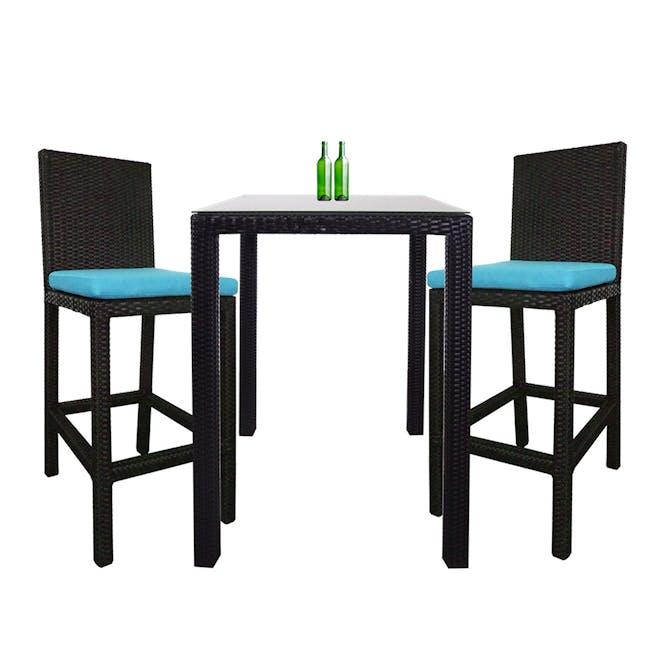 Midas 2 Chair Bar Set - Blue Cushion - 0