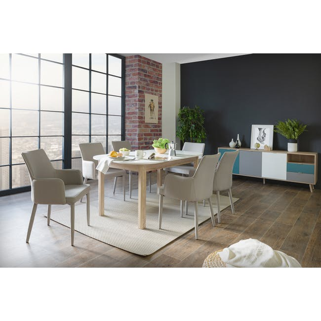 Irma Extendable Table 1.6m with 4 Chloe Dining Chairs in Wheat Beige and Pale Grey - 7