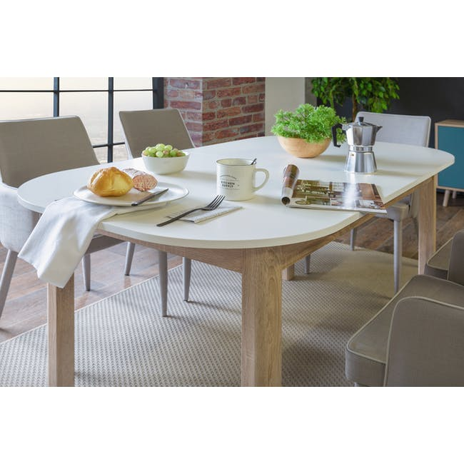 Irma Extendable Table 1.6m with 4 Chloe Dining Chairs in Wheat Beige and Pale Grey - 10