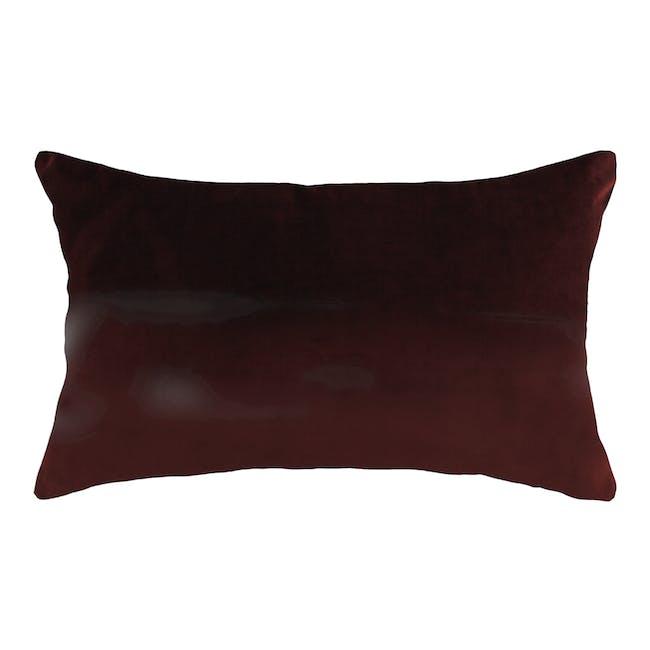 Alyssa Velvet Lumbar Cushion - Burgundy - 0
