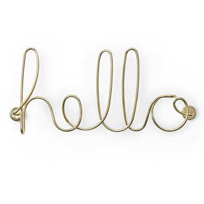 Wired Hello Wall Decor - Brass - Image 2
