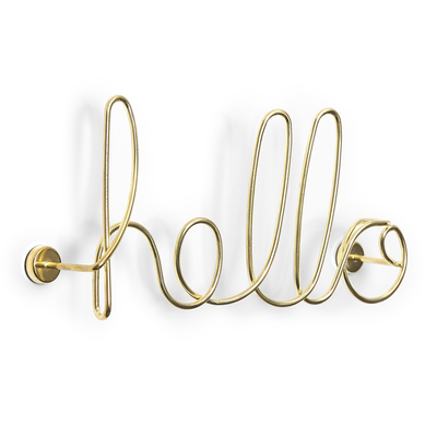 Wired Hello Wall Decor - Brass - Image 1