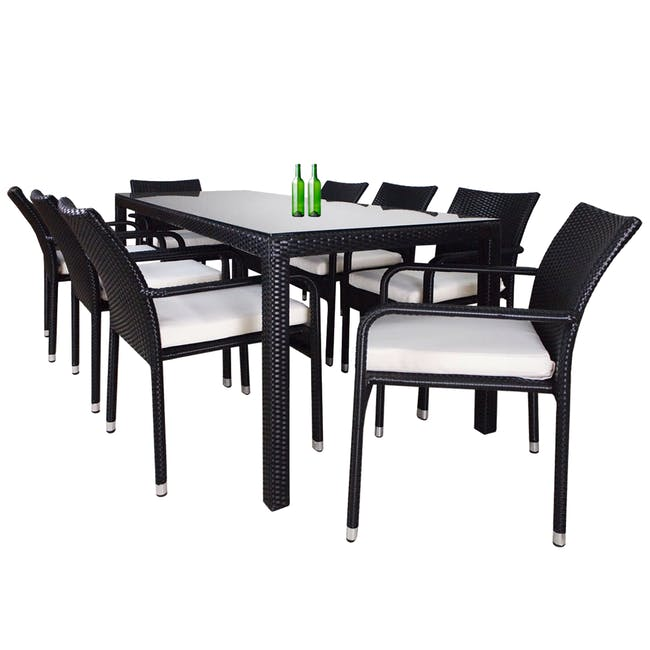 Geneva 8 Chair Outdoor Dining Set - White Cushion - 0