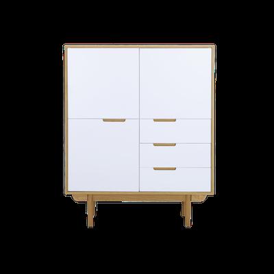 Larisa Tall Sideboard 1.1m - Oak, White - Image 1