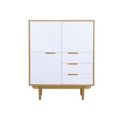 Larisa Tall Sideboard 1.1m - Oak, White - Image 1