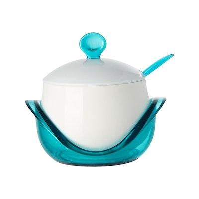 Porcelain Condiment Pot With Spoon - Blue - Image 2