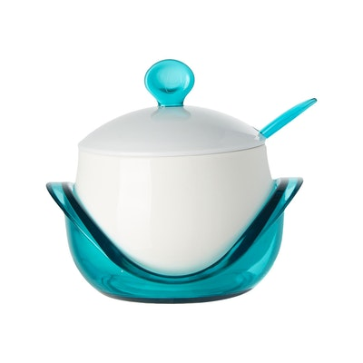 Porcelain Condiment Pot With Spoon - Blue