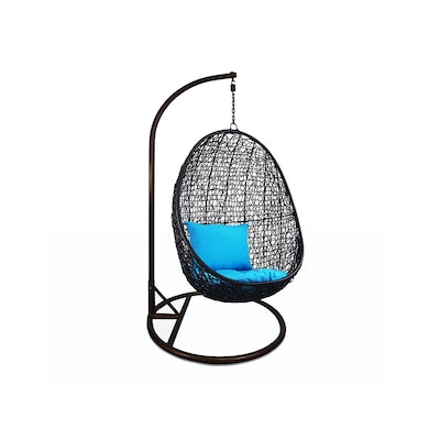 Black Cocoon Swing Chair with Blue Cushion - Image 1