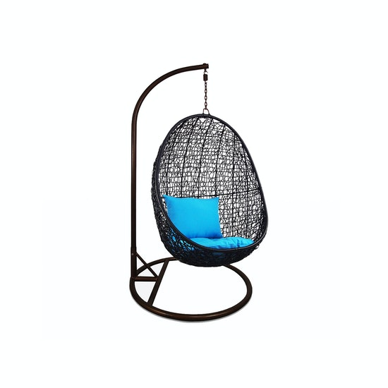 Arena Living - Black Cocoon Swing Chair with Blue Cushion