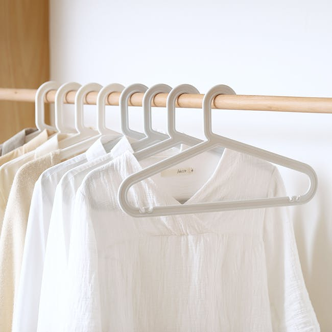 Zoe Plastic Hangers (Set of 10) - Taupe - 1