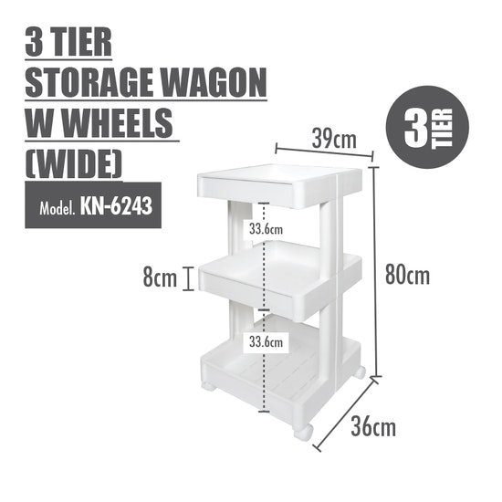 Houze - 3 Tier Storage Wagon with Wheels - Wide