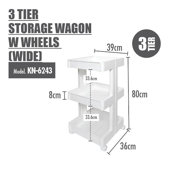 Houze - 3 Tier Storage Wagon with Wheels - Wide