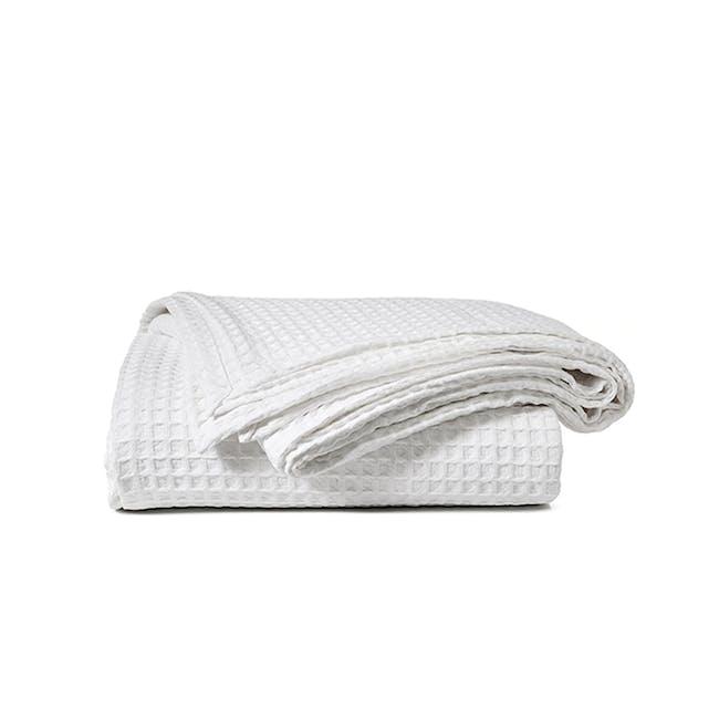 Canningvale Luxury Cotton Waffle Blanket - Carrara White (2 Sizes) - 0