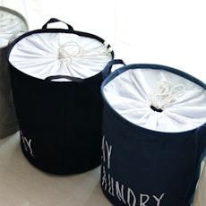 Jute Drawstring Laundry Basket  - Navy