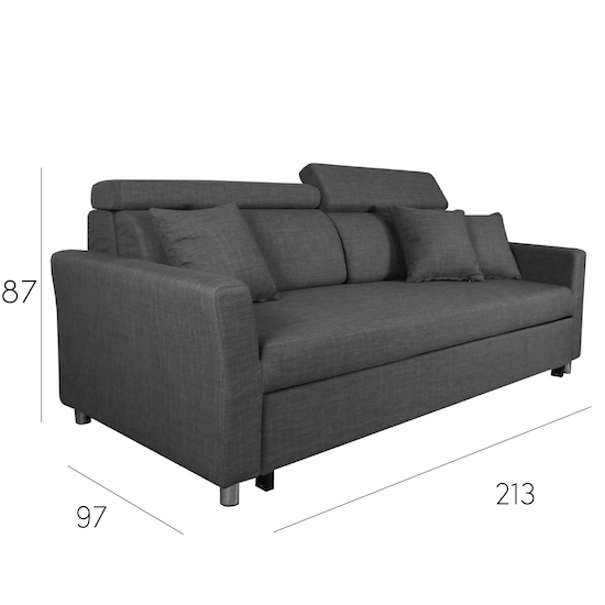 Bowen 3 Seater Sofa Bed Grey