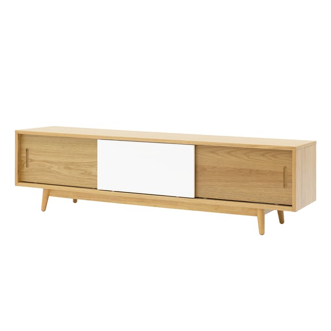 Emelie TV Console 1.6m in Oak, White with Avery Coffee Table in White - 14