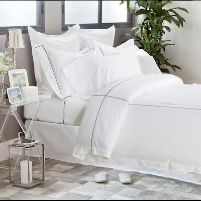 (Queen) Hotelier Prestigio™ 6-pc Bedding Set - Black Check Embroidery - Image 1