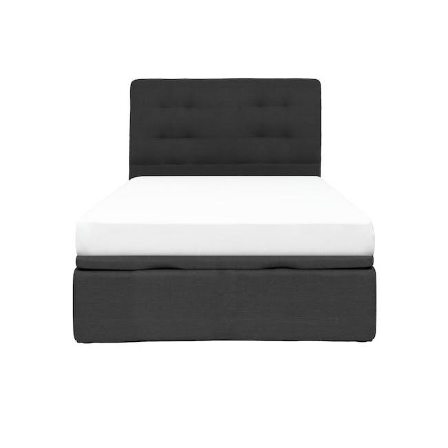ESSENTIALS Single Headboard Storage Bed - Smoke (Fabric) - 0