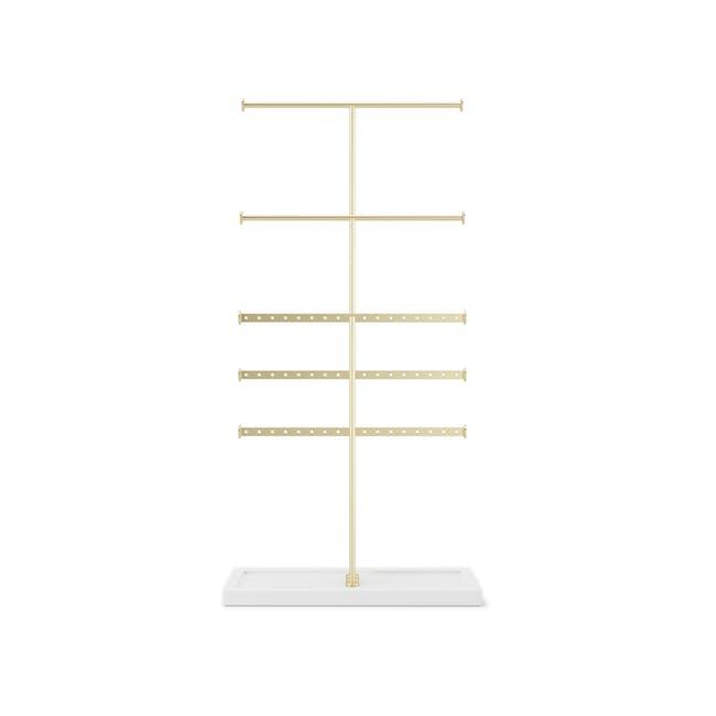 Trigem 5 Bar Jewelry Stand - White, Brass - 0