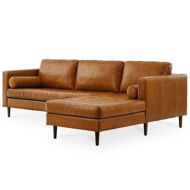 Nolan L-Shaped Sofa - Cigar (Premium Waxed Leather) - 2