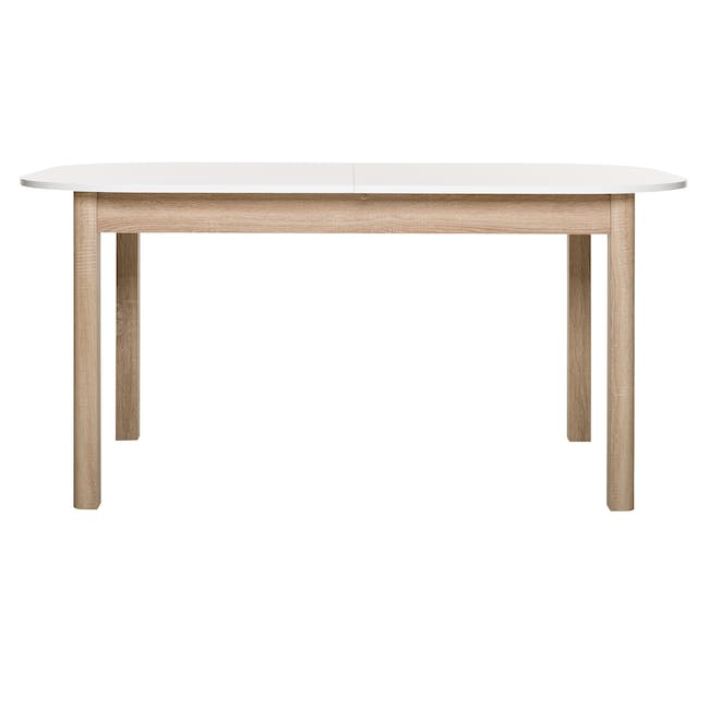 Irma Extendable Table 1.6m with 4 Chloe Dining Chairs in Wheat Beige and Pale Grey - 2