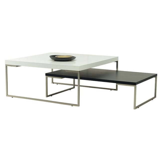 (As-is) Myron Rectangle Coffee Table - Walnut, Matt Silver - 5 - 21