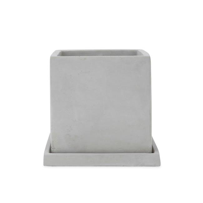 Square Concrete Pot with Saucer - Large - 0
