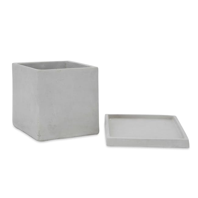 Square Concrete Pot with Saucer - Large - 2