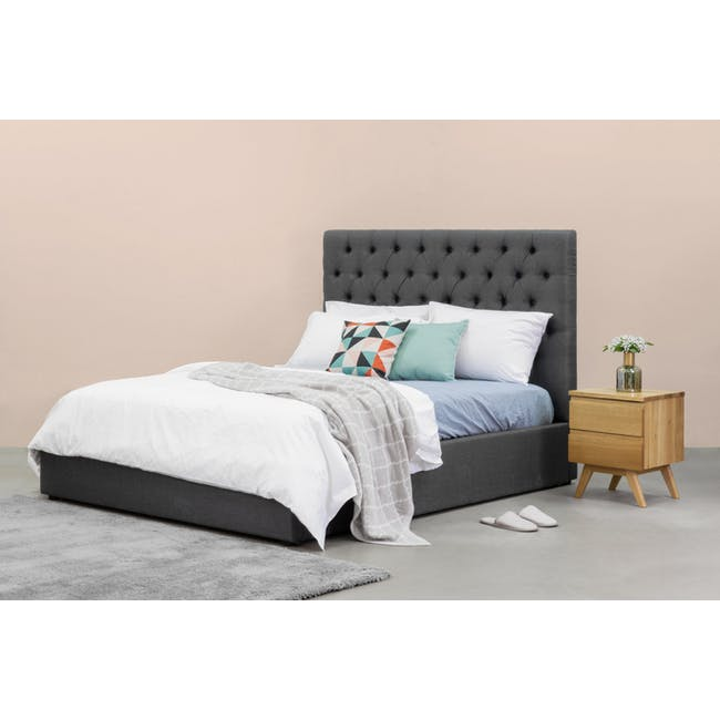 Isabelle King Storage Bed - Hailstorm (Fabric) - 1