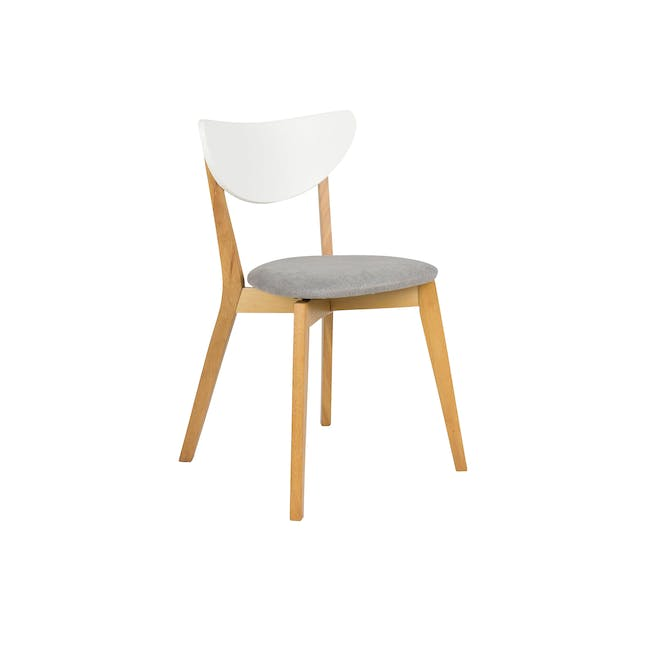 Rena Square Dining Table 0.7m with 2 Harold Dining Chairs in Natural, Dolphin Grey - 9
