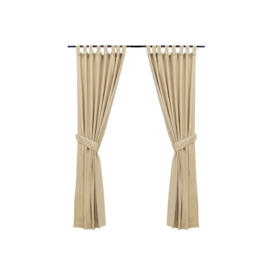 Reysha Cotton Curtain (Set of 2) - Beige - Image 1