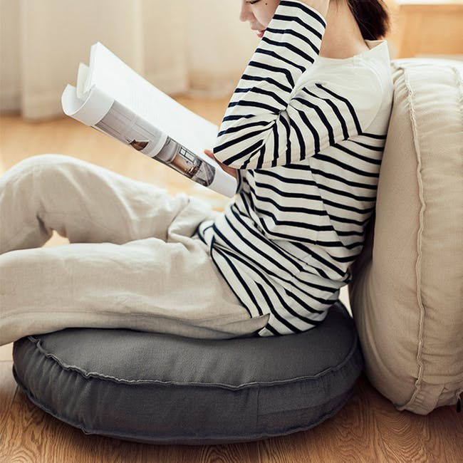 Hanya Round Floor Seat Cushion 60 cm - Grey - 2