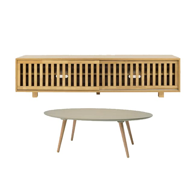 Keita TV Console 1.8m in Oak with Carsyn Oval Coffee Table in Taupe Grey - 0