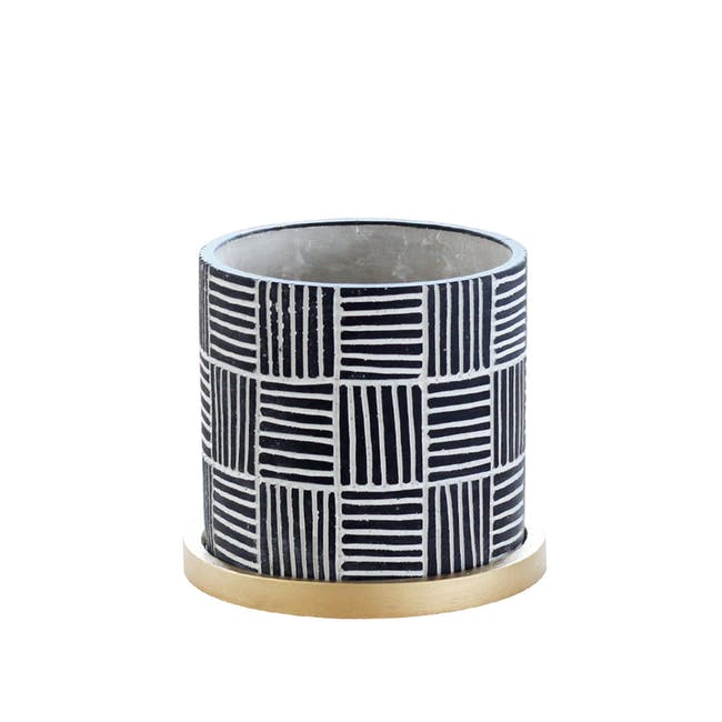 Nanno Pot with Gold Saucer - Lines - Medium - 0
