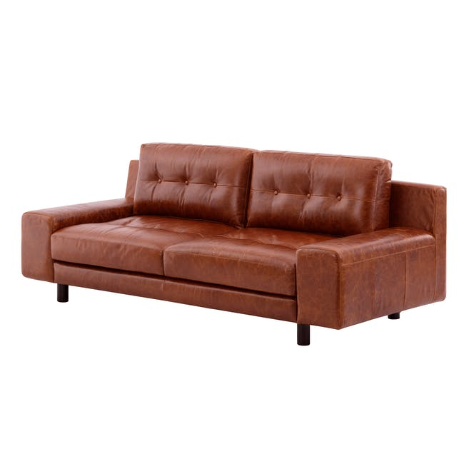 Wyatt 3 Seater Sofa - Cigar (Premium Waxed Leather) - 2
