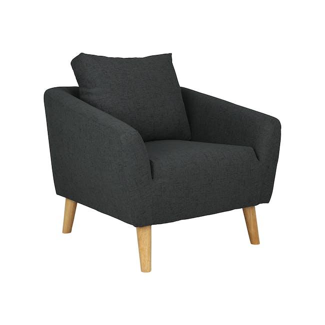 Hana 2 Seater Sofa with Hana Armchair - Charcoal - 3