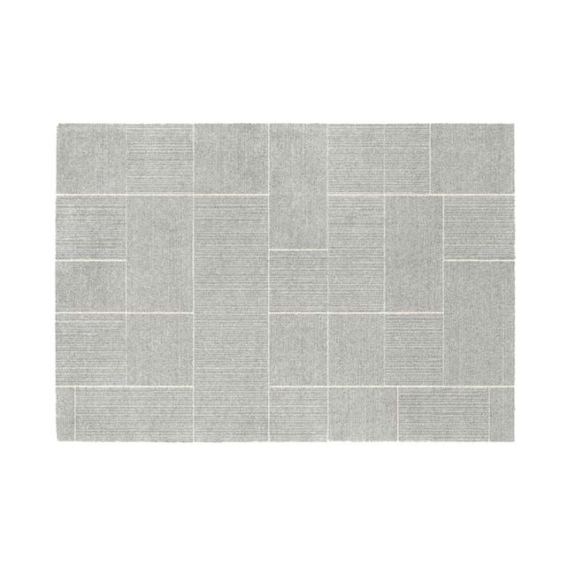 Fjord Low Pile Rug 2.3m x 1.6m - Silver Squares - 0
