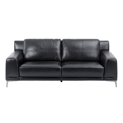 Dominic 3 Seater Sofa - Coal Black (Aniline Leather) - Image 2
